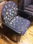 blue pattern guest chairs