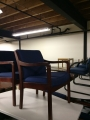 Blue Fabric guest chairs