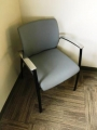 Blue guest chrome arm chair