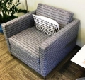 Grey fabric square lobby chair