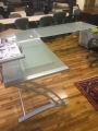 Glass L desk