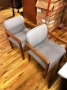 Gray fabric cherry wood guest chair