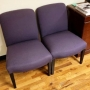 Purple fabric guest or side chairs