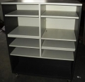 Black and Gray Mobile Storage Cabinet With Shelves